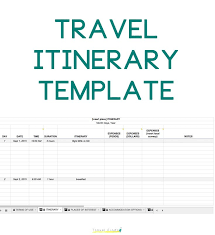 vacation itinerary template for travel agency planning sheet