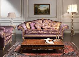 classic violet sofa imperial and carved table vimercati classic