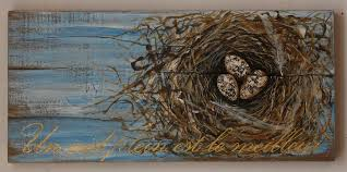wood painting egg and nest painting acrylic on reclaimed rustic wood board