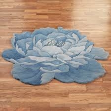 Round Bathroom Rugs Hillary Blue Peony Flower Shaped Round Rugs