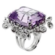 amethyst diamond engagement ring dior magnificent emerald cut amethyst diamond gold ring for sale