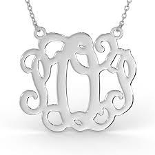 large monogram necklace monogram necklace in sterling silver
