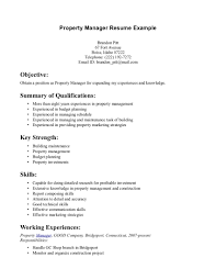 Resume Summary Examples Entry Level by Great Of Simple Property Manager Summary Of Qualification Include
