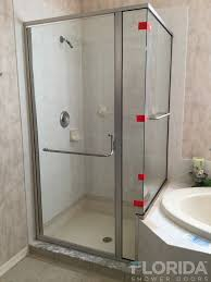 hinged glass shower door semi frameless enclosures florida shower doors manufacturer