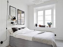 bedroom white scandinavian bedroom with geometrical ferm pattern