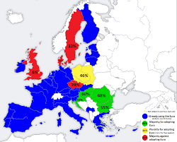 Eu Countries Map Support For Adopting The Euro Among Eu States 1194 X 960 Mapporn