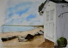 cabine de plage bois aquarelle