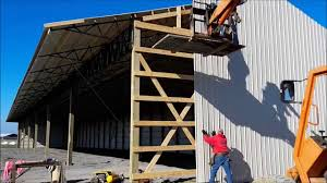 How To Build A Pole Barn Plans For Free by How To Run Metal Siding On A Pole Barn Youtube