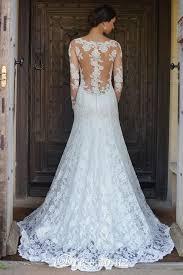 long sleeves illusion sheer lace back bateau neck mermaid wedding