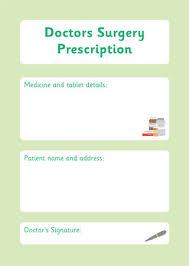 prescription form u2013 doctor u0027s surgery role play free early years