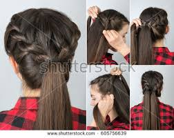 hair tutorial simple twisted hairstyle tutorial step by stock photo 605756639