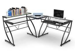 L Shaped Glass Desks Z Line Belaire Glass L Shaped Computer Desk House Stuff