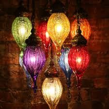 chandelier of color in blown glass and brass mosaic lamps nyc