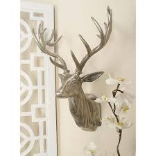 deer head home decor 23 in x 17 in aluminium deer head wall decor in polished finish