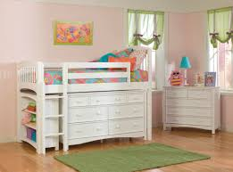 White Wood Loft Bed With Desk by Furniture White Wooden Loft Bed With Dresser For Teenage Girls