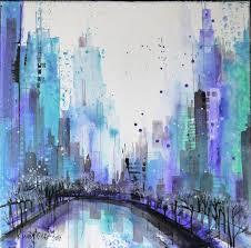 manhattan city view painting 40x40x2 cm 2016 by irina rumyantseva abstract art