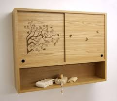bathroom wooden bathroom wall storage cabinet with tree motif