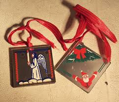 Glass Christmas Ornament Sets - vtg antique mirror glass hand painted two sided christmas