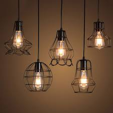wire light bulb cage wire cage pendant light amazing klemon metal hanging l for 9