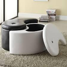 Leather Storage Ottoman Living Room Wonderful Living Room Ottoman Ideas With Round Black
