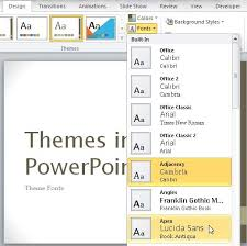 Theme Fonts In Powerpoint 2007 And 2010 Powerpoint Tutorials Theme Ppt 2010