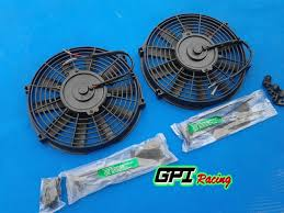 10 inch radiator fan 2 x universal slim 10 12v electric radiator engine bay fan