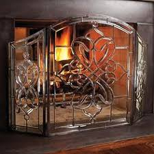fireplace screen with glass doors large two door floral fireplace screen with beveled glass panels