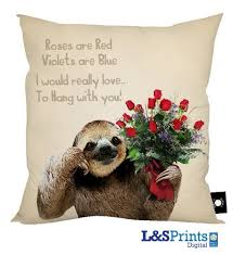 sloth valentines day card valentines day gift sloth s poem design cushion