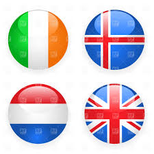 Flag Iceland Ireland Iceland Great Britain And Netherlands Button Flags