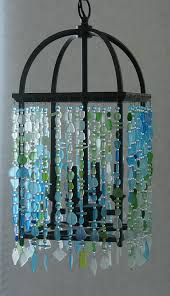 Beach Glass Chandelier Sea Glass Chandelier Ceiling Fixture Foyer Light Coastal