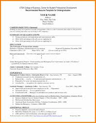 sample resume undergraduate sample academic resume for college