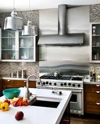 kitchen backsplash brushed steel backsplash metal stove