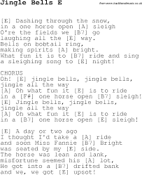 christmas carol song lyrics with chords for jingle bells e
