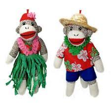 set of 2 sock monkey ornaments 6 camouflage camo