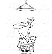 Vector Of A Cartoon Interrogated Man Sitting Under A Light Light Coloring Page