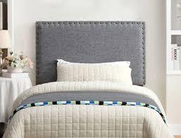 Light Grey Headboard Bedroom Furniture Metal Freestanding Linen Nailhead Ultra Modern