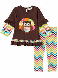 infant 2 pc turkey owl thanksgiving shirt