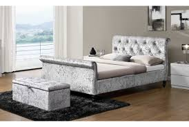 westminster silver crushed velvet sleigh bed double or king size