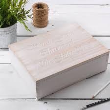 personalised keepsake box personalised white wooden christening keepsake box