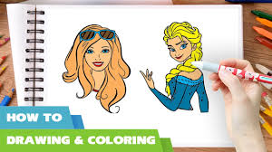 how to draw barbie vs elsa coloring pages videos i drawing and