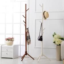 8 hooks solid wooden coat stand hat shelf scarves rack living room