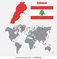 lebanon on the map lebanon map on world map flag stock vector 476896996