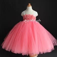 coral flower dress shabby flowers dress tulle dress wedding