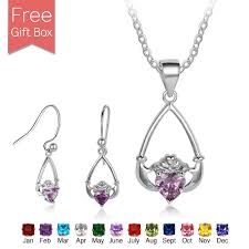 claddagh set sterling silver claddagh set with birthstone rs jewelry