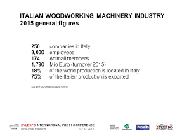 Woodworking Machinery Manufacturers Association by Xylexpo International Press Conference Unicredit Pavilion U201cthe