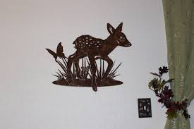 hand crafted deer fawn with butterfly metal wall art country custom made deer fawn with butterfly metal wall art country rustic home decor