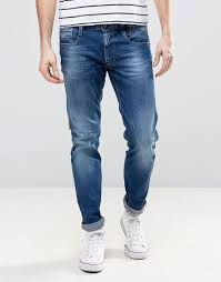 replay anbass slim fit jeans mid blue wash blue replay cloth