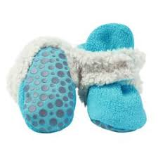 baby booties that stay on cotton fleece w grip zutano
