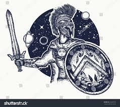 spartan warrior holding sword shield tattoo stock vector 626449793
