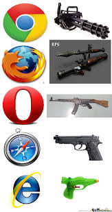 Browser Meme - guns and browsers by dat troller meme center